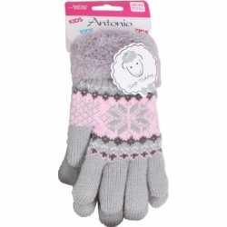 Gebreide winter handschoenen grijs grijs pluche meisjes