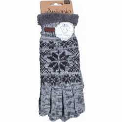 Gebreide winter handschoenen grijs nordic print heren