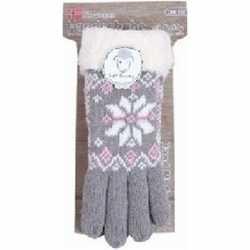 Gebreide winter handschoenen grijs pluche dames