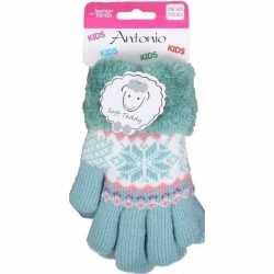Gebreide winter handschoenen mint groen mint groen pluche vo