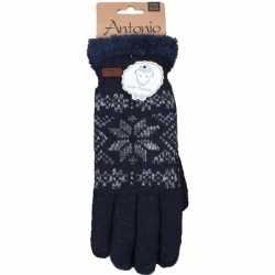 Gebreide winter handschoenen navy blauw/nordic print heren
