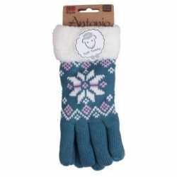 Gebreide winter handschoenen nordic ster blauw dames