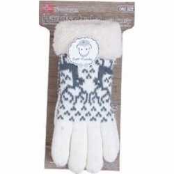 Gebreide winter handschoenen rendier/creme pluche dames