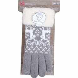 Gebreide winter handschoenen rendier/grijs pluche dames