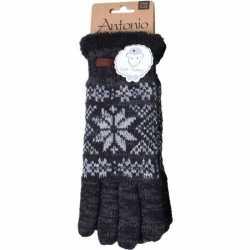 Gebreide winter handschoenen zwart nordic print heren