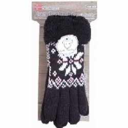 Gebreide winter handschoenen zwart pluche dames