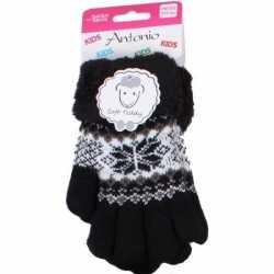 Gebreide winter handschoenen zwart zwart pluche meisjes