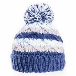 Gebreide winter muts blauw/grijs pompon baby