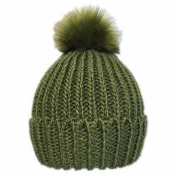 Gebreide winter muts groen pompon dames