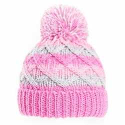 Gebreide winter muts roze/grijs pompon baby