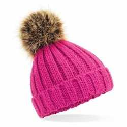 Gebreide wintermuts roze grof/chunky pompon meisjes