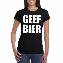 Geef bier dames t shirt zwart
