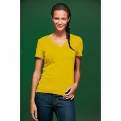 Geel dames stretch t-shirt V-hals