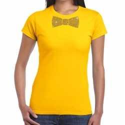 Geel fun t shirt vlinderdas in glitter goud dames