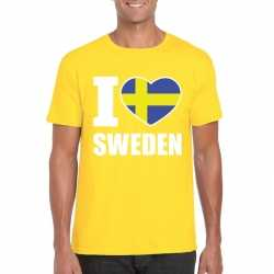 Geel i love zweden fan shirt heren