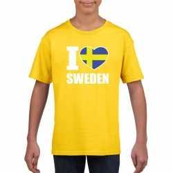 Geel i love zweden fan shirt kinderen
