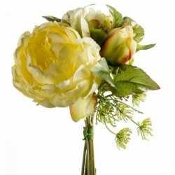 Geel kunstbloemen boeket 20 pioenroos/dille