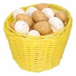 Geel paasmandje plastic kwartel eieren 14cm