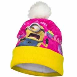 Geel/roze Minion muts fleece