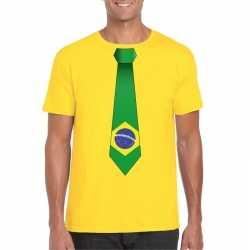 Geel t shirt brazilie vlag stropdas heren
