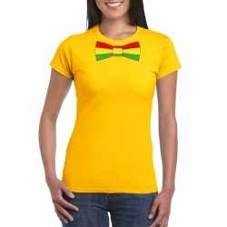 Geel t shirt limburgse vlag strik dames