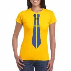 Geel t shirt zweden vlag stropdas dames