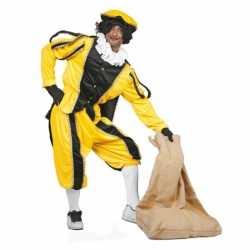 Geel/zwarte pieten kostuum fluweel