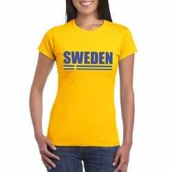 Geel zweden supporter t shirt dames