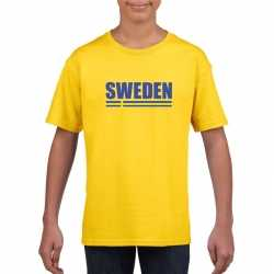 Geel zweden supporter t shirt kinderen
