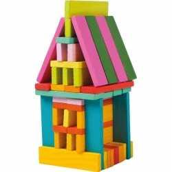 Gekleurde bouwblokken meisjes 75 stuks