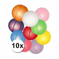 Gekleurde lampionnen pakket 10 stuks