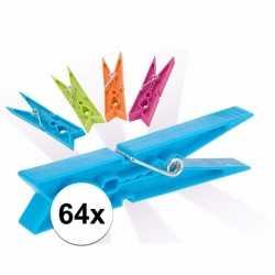 Gekleurde wasknijpers 64 stuks