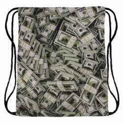 Geld print rugtas rijgkoord