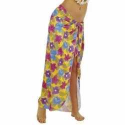 Gele hawaii verkleed sarong rok dames