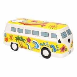Gele porseleinen autobus spaarpot