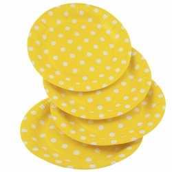 Gele wegwerp bordjes witte stippen 8x