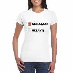 Geslaagd/ gezakt t shirt wit dames