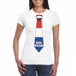 Geslaagd stropdas t shirt wit dames