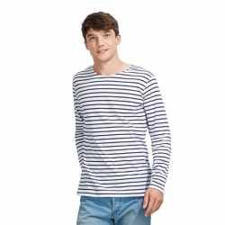 Gestreept heren t-shirt wit/blauw