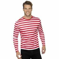 Gestreept shirt wit/rood volwassenen