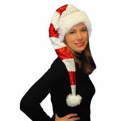 Gestreepte kerstmuts pailletten