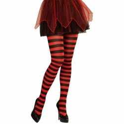 Gestreepte panty rood/zwart neon
