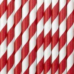 Gestreepte papieren rietjes rood/wit 20x stuks