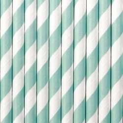 Gestreepte rietjes lichtblauw/wit