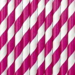 Gestreepte rietjes roze/wit