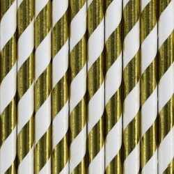 Gestreepte rietjes van papier goud/wit 20 stuks
