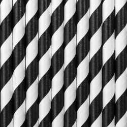 Gestreepte rietjes van papier zwart/wit 100 stuks