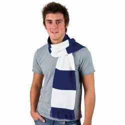 Gestreepte sjaal kobalt blauw wit