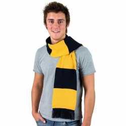 Gestreepte sjaal navy goud