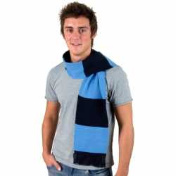 Gestreepte sjaal navy lichtblauw